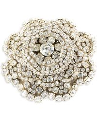 Rebecca de Ravenel - Ava Crystal & Goldplated Pewter Floral Brooch - Lyst