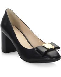 Cole Haan - Tali Bow Leather Pumps - Lyst