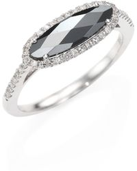 Meira T | Diamond, Hematite & 14k White Gold Ring | Lyst