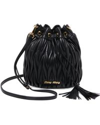 Miu Miu - Metalasse Leather Bucket Bag - Lyst