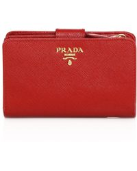 e101b975d3f79 Prada - Women s Medium Saffiano Leather Tab Wallet - Fuoco - Lyst