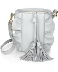 MILLY - Astor Ruffle Leather Drawstring Bucket - Lyst