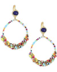Kenneth Jay Lane - Seed Bead Gypsy Hoop Earrings - Lyst