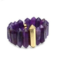Nest - Amethyst & Goldplated Stretch Bracelet - Lyst