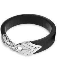 John Hardy - Modern Silver Chain & Leather Bracelet - Lyst