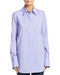 Theory - Tuxedo Button Down Blouse - Lyst