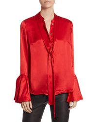 Saks Fifth Avenue | Collection Silk Tie-neck Blouse | Lyst
