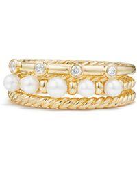 David Yurman - Petite Perle 18k Yellow Gold Diamond & Freshwater Pearl Ring - Lyst