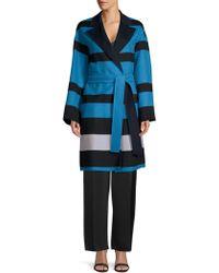 ESCADA - Madras Striped Double-faced Wrap Coat - Lyst