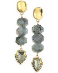 Nest - Pyrite, Labradorite & 24k Goldplated Arrowhead Drop Earrings - Lyst