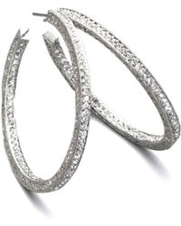 Adriana Orsini - Pave Crystal Hoop Earrings/1.5 - Lyst