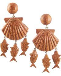 Rebecca de Ravenel - Delphine Wood Charm Drop Earrings - Lyst