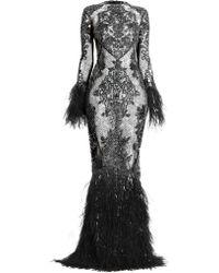 Zuhair Murad Moya Sheer Embellished Feather Gown - Black