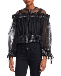 Noir Kei Ninomiya - Tulle & Faux-leather Cropped Bomber - Lyst