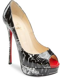 1a5b5e7ab964 Christian Louboutin - Fetish Peep 130 Printed Patent Leather Court Shoes -  Lyst