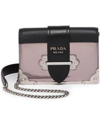 7711b21caa3a Prada - Small Metallic Cahier Leather Crossbody Bag - Lyst