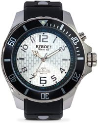 Kyboe - Power Silver Echo Black Silicone & Stainless Steel Strap Watch/48mm - Lyst