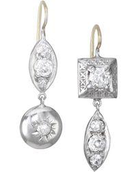 Renee Lewis - 18k Two-tone Gold, Platinum & Antique Diamond Drop Earrings - Lyst