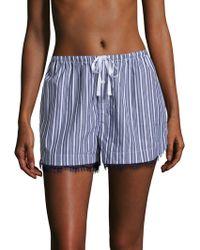 Skin | Stripe Laced Cotton Shorts | Lyst