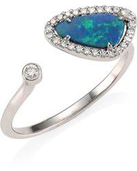 Meira T - 14k White Gold, Diamond & Opal Open Ring - Lyst