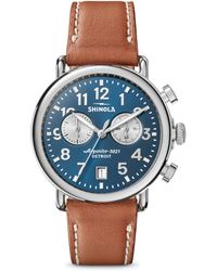Shinola - Runwell Stainless Steel & Leather Strap Chronograph Watch - Lyst
