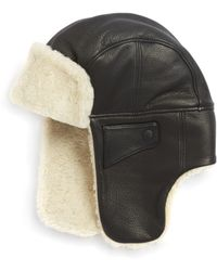 3c49f4ab831 UGG - Shearling And Leather Trapper Hat - Lyst