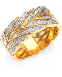John Hardy - Modern Chain Diamond & 18k Yellow Gold Ring - Lyst