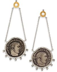 Coomi - Coin Diamond, Crystal, 20k Yellow Gold & Sterling Silver Drop Earrings - Lyst