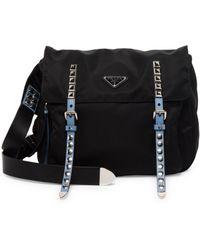 Prada - Nylon Messenger Bag With Studding - Lyst