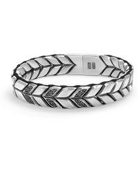 David Yurman - Chevron Woven Bracelet With Black Diamonds - Lyst