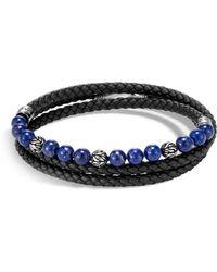 John Hardy - Leather, Silver & Lapis Bead Bracelet - Lyst