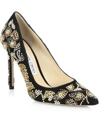 Jimmy Choo | Romy 100 Embroidered Suede Pumps | Lyst