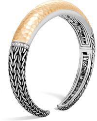 John Hardy - Classic Chain Diamond, Hammered 18k Gold & Silver Graduated Kick Cuff - Lyst