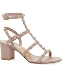 edb1f2ba6c1 Valentino Rockstud Metallic Leather Block Heel Sandals in Metallic ...