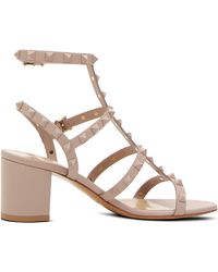 35a295e34cf Valentino Rockstud Metallic Leather Cage Block Heel Sandals in ...