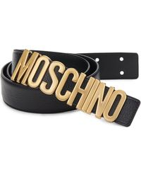 acb6e48854 Moschino - Men's Logo Leather Belt - Black - Size 56 (40) - Lyst