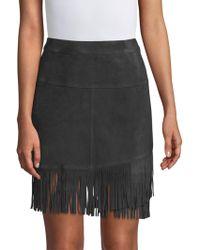 FRAME - Suede Fringe Mini Skirt - Lyst