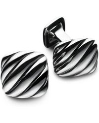 David Yurman - Silver Cushion Cuff Links - Lyst