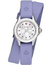 Michele Watches - Cape Mini Lavender Topaz, Stainless Steel & Silicone Double-wrap Strap Watch/lavender - Lyst