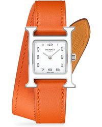 Hermès - Heure H Lacquered, Stainless Steel & Leather Strap Watch - Lyst