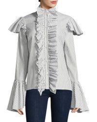 Caroline Constas | Marla Ruffled Stripe Shirt | Lyst