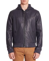 Saks Fifth Avenue - Modern Zip-front Hooded Leather Jacket - Lyst