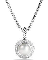 David Yurman - Petite Cerise Pendant With Pearl And Diamonds On Chain - Lyst