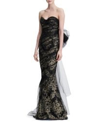 Marchesa Strapless Metallic Corded Lace Gown Lyst