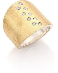 Rene Escobar - Diamond, 18k Yellow Gold & Sterling Silver Wide Band Ring - Lyst
