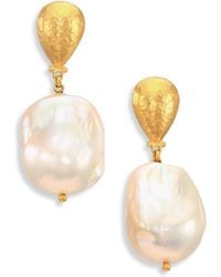 Gurhan - Spell 18mm White Baroque Pearl & 24k Yellow Gold Drop Earrings - Lyst