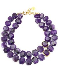 Nest - Amethyst & 24k Goldplated Double Strand Necklace - Lyst