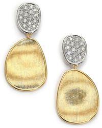 Marco Bicego - Lunaria Diamond & 18k Yellow Gold Small Drop Earrings - Lyst