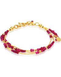 Gurhan - Delicate Rain Ruby & 24k Yellow Gold Triple-strand Bracelet - Lyst
