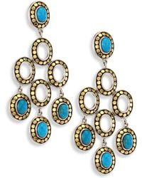 John Hardy - Dot Turquoise & 18k Yellow Gold Chandelier Earrings - Lyst